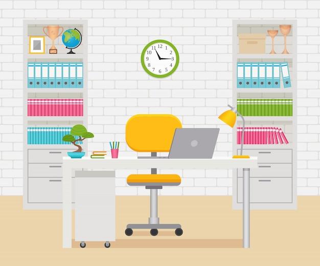 Interior de sala de oficina. lugar de trabajo, espacio de trabajo con mobiliario y equipamiento.