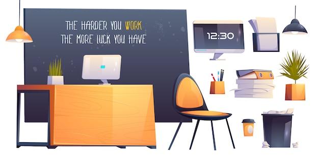 Interior de sala de oficina moderna, lugar de trabajo de negocios