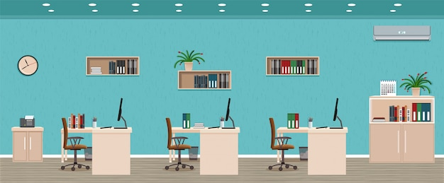 Interior de la sala de oficina que incluye tres espacios de trabajo con ventana exterior del paisaje urbano. organización del lugar de trabajo.