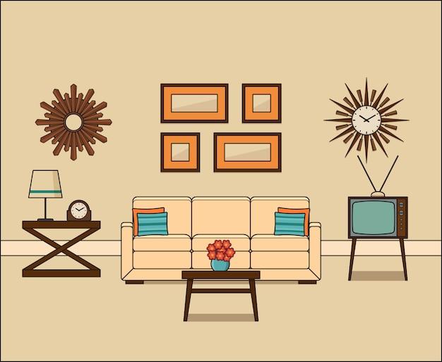 Interior de la sala retro en la ilustración de diseño plano