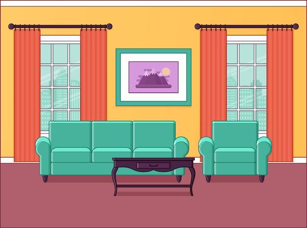 Interior de la sala salón de diseño plano. espacio en el hogar con muebles, ventanas