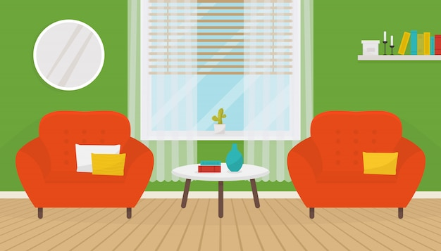Interior de sala verde con dos sillones suaves y mesa de café.