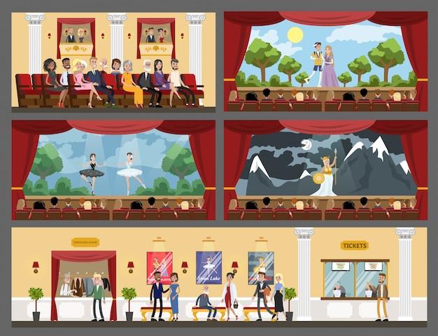 Interior de salas de teatro con juego, ópera y ballet.