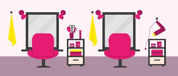 Interior de salón de belleza con mobiliario y equipamiento. ilustración.
