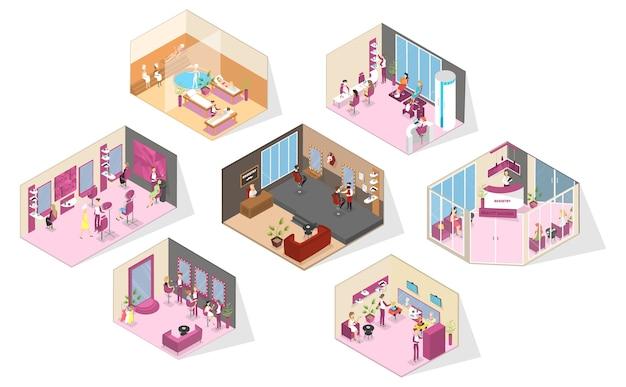 Interior del salón de belleza. realización de corte de cabello, moda manicura y pedicura, spa, cosmetología y otros. peluquería para hombres. estilo de vida glamour. ilustración isométrica de vector aislado