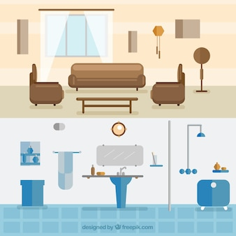 Interior de salón y cocina en diseño plano