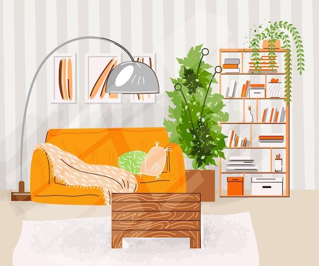 Interior del salón. ilustración plana con diseño de una acogedora habitación con sofá, mesa, estanterías con libros, plantas y accesorios de decoración. ilustración de sala de estar acogedora.