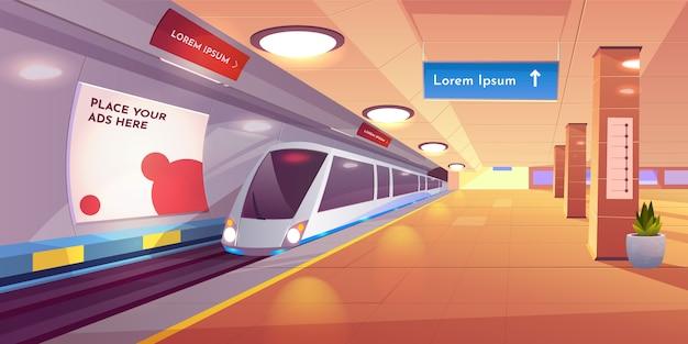 Interior subterráneo con mapa y pancartas publicitarias.