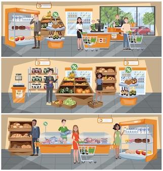 Interior de supermercado. gente caminando con la canasta