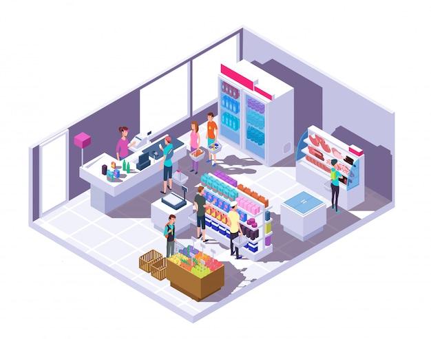 Interior del supermercado con gente de compras y comida en estantes y nevera