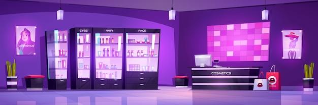 Interior de la tienda de cosméticos, tienda de belleza para el cuidado del cuerpo o maquillaje con botellas de cosméticos en los estantes de exhibición, mostrador de caja con computadora y carteles de moda en la pared