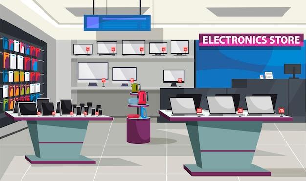 Interior de la tienda de electrónica de consumo, escaparate y estantes con computadora portátil