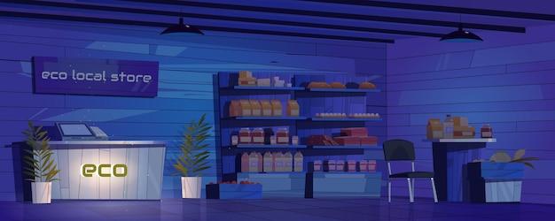 Interior de la tienda local ecológica por la noche.