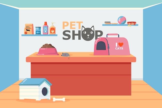 Interior de la tienda de mascotas con ilustración de mostrador y estantes