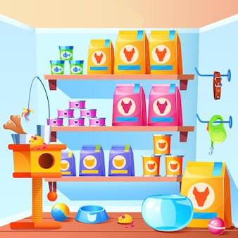 Interior de la tienda de mascotas con rascador para gatos, juguetes, cuenco, alimento en bolsa y latas, ilustración de dibujos animados de la tienda con accesorios para animales domésticos, acuario para peces, collar para perros, bolas