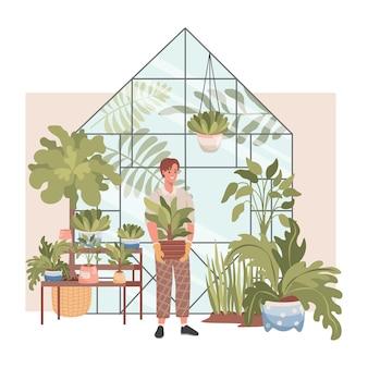 Interior de la tienda de plantas