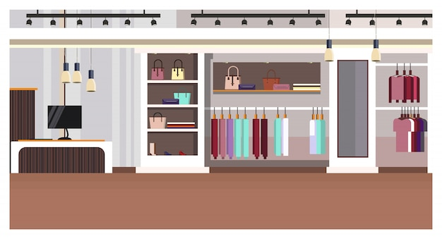 Interior de tienda de ropa de mujer con caja registradora, bolsos