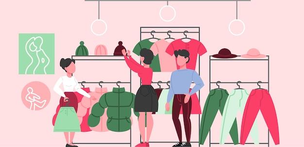Interior de la tienda de ropa. ropa para hombres y mujeres.