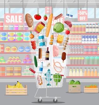 Interior de la tienda de supermercado con mercancías. gran centro comercial.