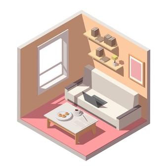Interior de trabajo de oficina en casa independiente