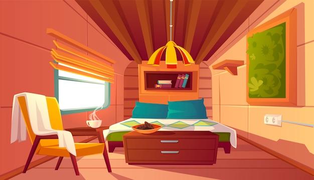 Interior vacío de camper, vagón de remolque