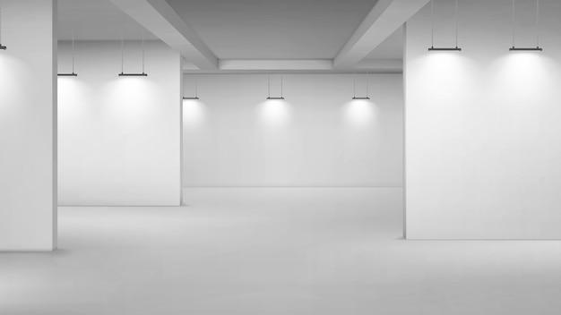Interior vacío de la galería de arte, sala 3d con paredes blancas, piso y lámparas de iluminación. pasillos del museo con luces para presentación de imágenes, sala de exposiciones del concurso de fotografía