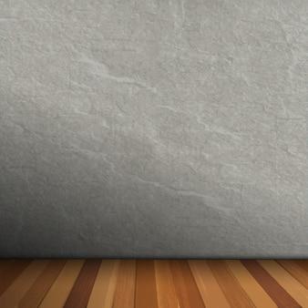 Interior vacío de sala vintage con pared de piedra gris y piso de madera