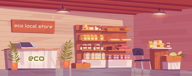 Interior vacío de la tienda ecológica local, tienda de abarrotes con producción ecológica en estantes de madera.