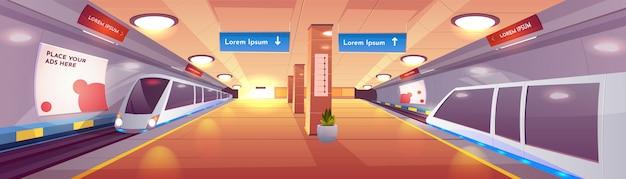 Interior de vector de dibujos animados de la estación de metro de la ciudad