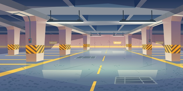 Interior del vector del estacionamiento subterráneo vacío