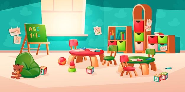 Interior de vector de habitación en jardín de infantes montessori