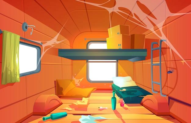 Interior del vector de habitación sucia pobre en furgoneta de camping