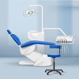 Interior de vector de sala de práctica dental con silla, lámpara y herramientas estomatológicas sobre fondo borroso