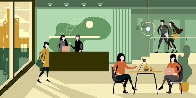 Interior verde ecológico del salón de oficina.