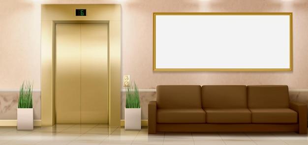 Interior del vestíbulo con sofá de puertas de ascensor dorado y sala de carteles vacía con ascensor cerrado