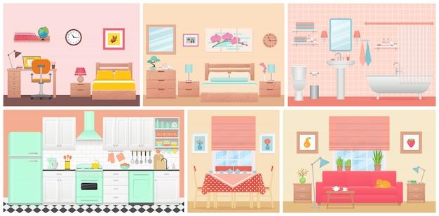 Interiores de habitaciones. ilustración en diseño plano. casa de dibujos animados