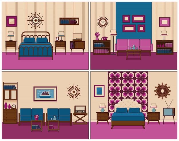 Interiores de habitaciones en línea plana art. ilustración.