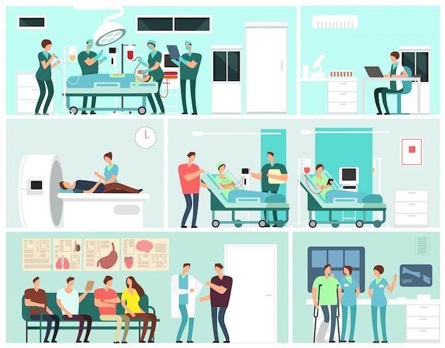 Interiores hospitalarios con pacientes, médicos, enfermeros y equipos médicos. concepto de vector de servicio de medicina