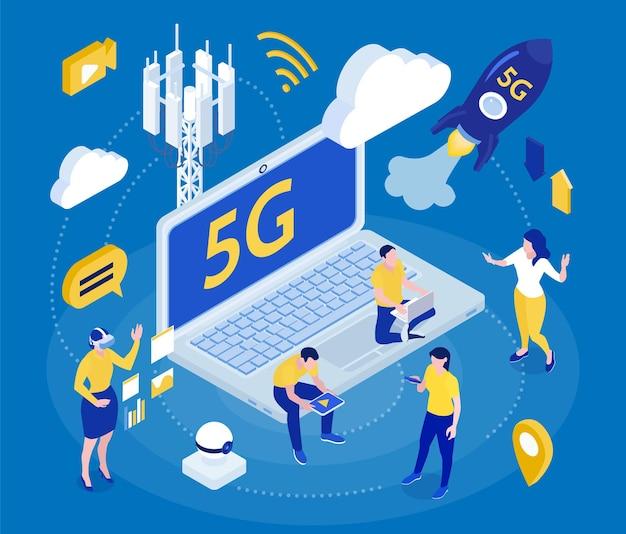 Internet 5g, rápido, seguro, ciudad inteligente, infraestructura, red empresarial, dispositivos móviles, promoción, composición isométrica