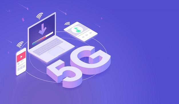 Internet 5g con red de tecnología de alta velocidad.