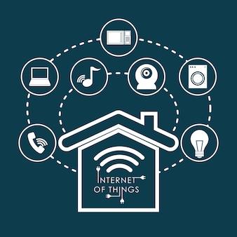 Internet del concepto de cosas con diseño de icono