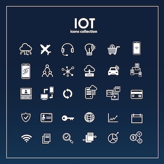 Internet de conjunto de iconos de cosas
