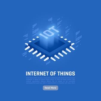 Internet de las cosas composición azul abstracta con unidad central de procesamiento