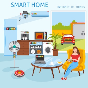Internet de las cosas concepto de hogar inteligente