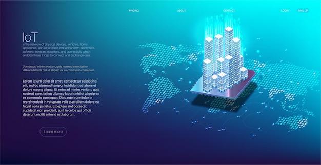 Internet de las cosas y concepto de redes para dispositivos conectados