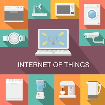 Internet de las cosas control remoto de la computadora composición plana resumen aislado