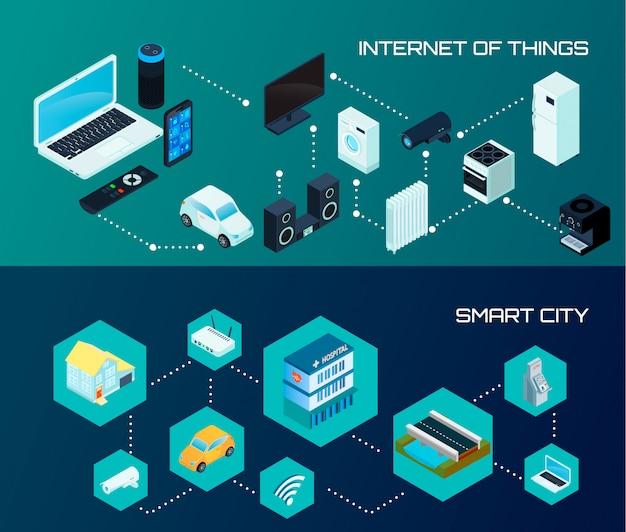 Internet de las cosas iot y banners de ciudades inteligentes.
