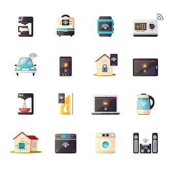 Internet de las cosas iot colección de iconos de dibujos animados retro