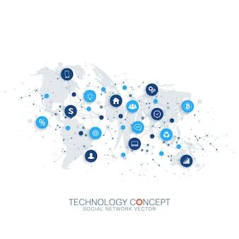 Internet de las cosas, iot y concepto de conexión de red.