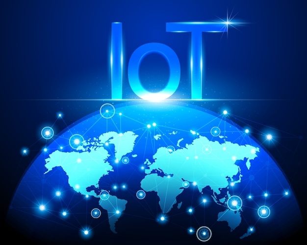 Internet de las cosas (iot) tecnología y mapa mundial